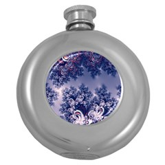 Pink And Blue Morning Frost Fractal Hip Flask (round)