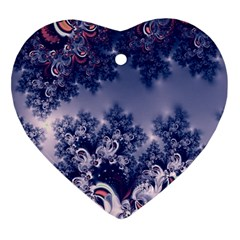 Pink and Blue Morning Frost Fractal Heart Ornament (Two Sides)