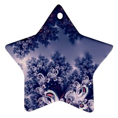 Pink and Blue Morning Frost Fractal Star Ornament (Two Sides)