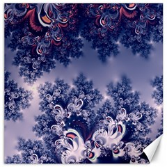 Pink and Blue Morning Frost Fractal Canvas 12  x 12  (Unframed)