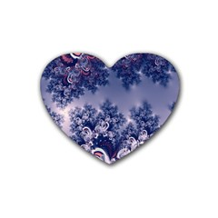 Pink And Blue Morning Frost Fractal Drink Coasters (heart)
