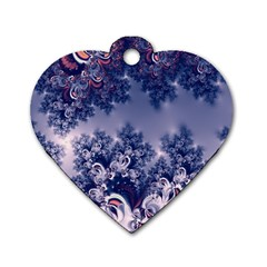 Pink And Blue Morning Frost Fractal Dog Tag Heart (two Sided)