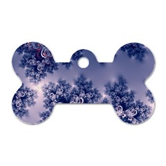 Pink and Blue Morning Frost Fractal Dog Tag Bone (One Sided)