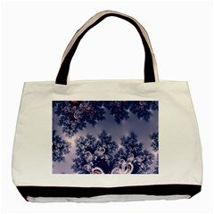 Pink and Blue Morning Frost Fractal Twin-sided Black Tote Bag