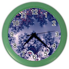 Pink and Blue Morning Frost Fractal Wall Clock (Color)