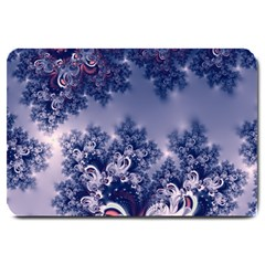 Pink and Blue Morning Frost Fractal Large Door Mat