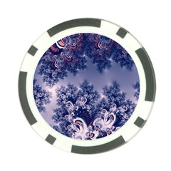 Pink And Blue Morning Frost Fractal Poker Chip
