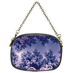 Pink And Blue Morning Frost Fractal Chain Purse (two Sided)
