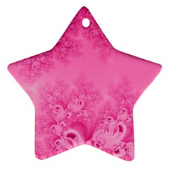Soft Pink Frost Of Morning Fractal Star Ornament