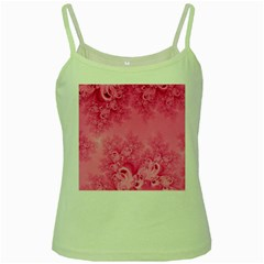 Soft Pink Frost of Morning Fractal Green Spaghetti Tank
