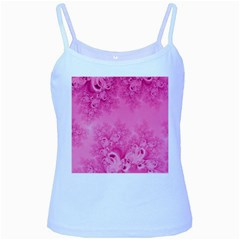 Soft Pink Frost of Morning Fractal Baby Blue Spaghetti Tank