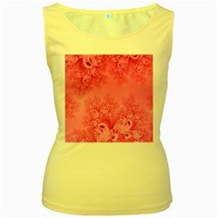Soft Pink Frost Of Morning Fractal Women s Tank Top (yellow)