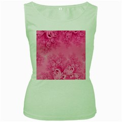 Soft Pink Frost of Morning Fractal Women s Tank Top (Green)