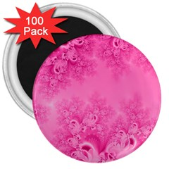 Soft Pink Frost of Morning Fractal 3  Button Magnet (100 pack)