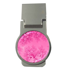 Soft Pink Frost Of Morning Fractal Money Clip (round)