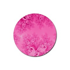 Soft Pink Frost of Morning Fractal Drink Coasters 4 Pack (Round)