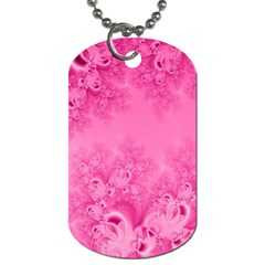 Soft Pink Frost Of Morning Fractal Dog Tag (one Sided)
