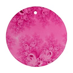 Soft Pink Frost Of Morning Fractal Round Ornament (two Sides)