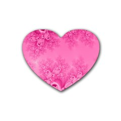 Soft Pink Frost Of Morning Fractal Drink Coasters 4 Pack (heart)