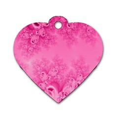 Soft Pink Frost Of Morning Fractal Dog Tag Heart (one Sided)