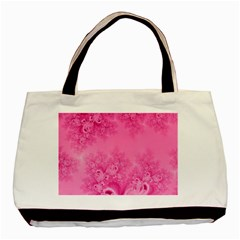 Soft Pink Frost of Morning Fractal Twin-sided Black Tote Bag