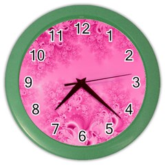 Soft Pink Frost Of Morning Fractal Wall Clock (color)