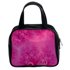 Soft Pink Frost Of Morning Fractal Classic Handbag (two Sides)
