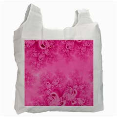 Soft Pink Frost Of Morning Fractal White Reusable Bag (one Side)