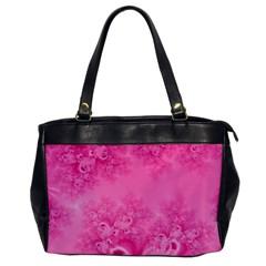 Soft Pink Frost Of Morning Fractal Oversize Office Handbag (one Side)