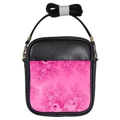 Soft Pink Frost Of Morning Fractal Girl s Sling Bag