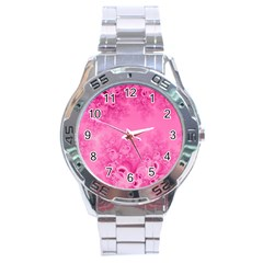 Soft Pink Frost Of Morning Fractal Stainless Steel Watch