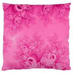 Soft Pink Frost Of Morning Fractal Large Cushion Case (single Sided)