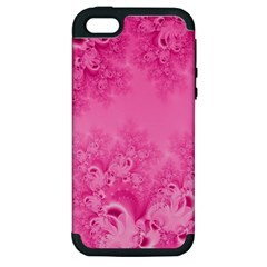 Soft Pink Frost Of Morning Fractal Apple Iphone 5 Hardshell Case (pc+silicone)