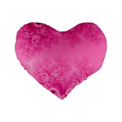 Soft Pink Frost of Morning Fractal 16  Premium Heart Shape Cushion