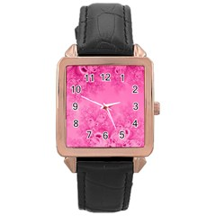Soft Pink Frost of Morning Fractal Rose Gold Leather Watch