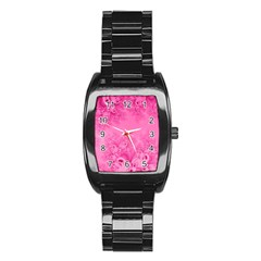 Soft Pink Frost of Morning Fractal Stainless Steel Barrel Watch