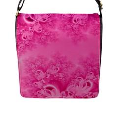 Soft Pink Frost Of Morning Fractal Flap Closure Messenger Bag (large)