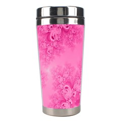 Soft Pink Frost of Morning Fractal Stainless Steel Travel Tumbler