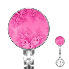 Soft Pink Frost of Morning Fractal Stainless Steel Nurses Watch