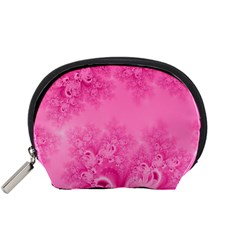 Soft Pink Frost of Morning Fractal Accessory Pouch (Small)