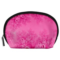 Soft Pink Frost of Morning Fractal Accessory Pouch (Large)