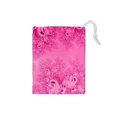Soft Pink Frost Of Morning Fractal Drawstring Pouch (small)