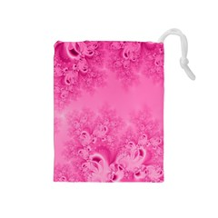 Soft Pink Frost of Morning Fractal Drawstring Pouch (Medium)