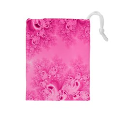 Soft Pink Frost Of Morning Fractal Drawstring Pouch (large)
