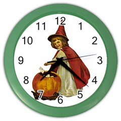Vintage Halloween Child Wall Clock (Color)