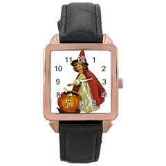 Vintage Halloween Child Rose Gold Leather Watch
