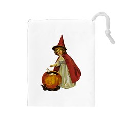 Vintage Halloween Child Drawstring Pouch (Large)