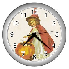 Vintage Halloween Child Wall Clock (Silver)