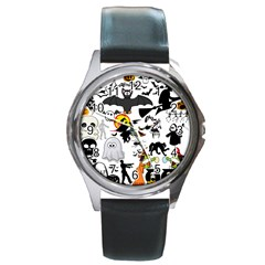 Halloween Mashup Round Leather Watch (silver Rim)