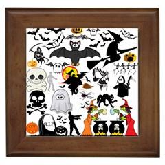 Halloween Mashup Framed Ceramic Tile